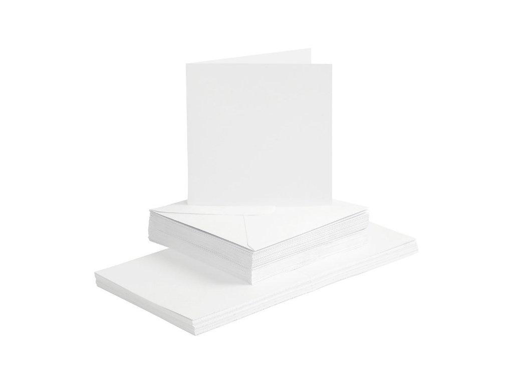 Bílé přání a obálky – 15x15 cm 5ks