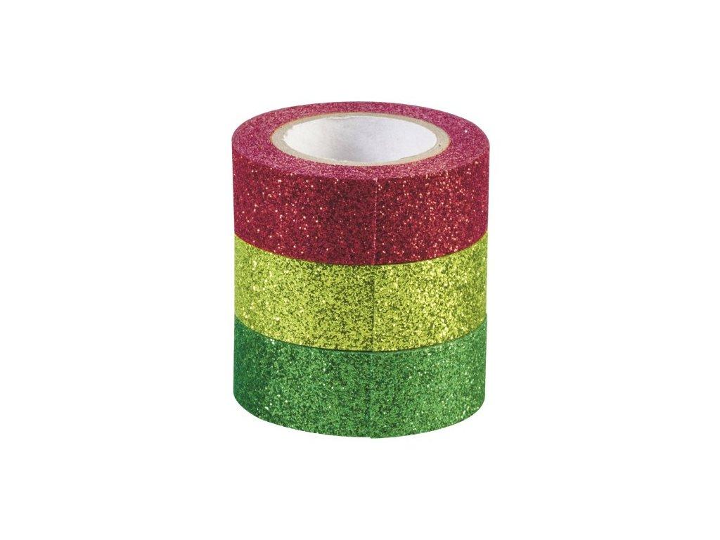 Sada samolepicích třpytivých papírových pásek - Vánoce 1,5cmx3m (3ks)