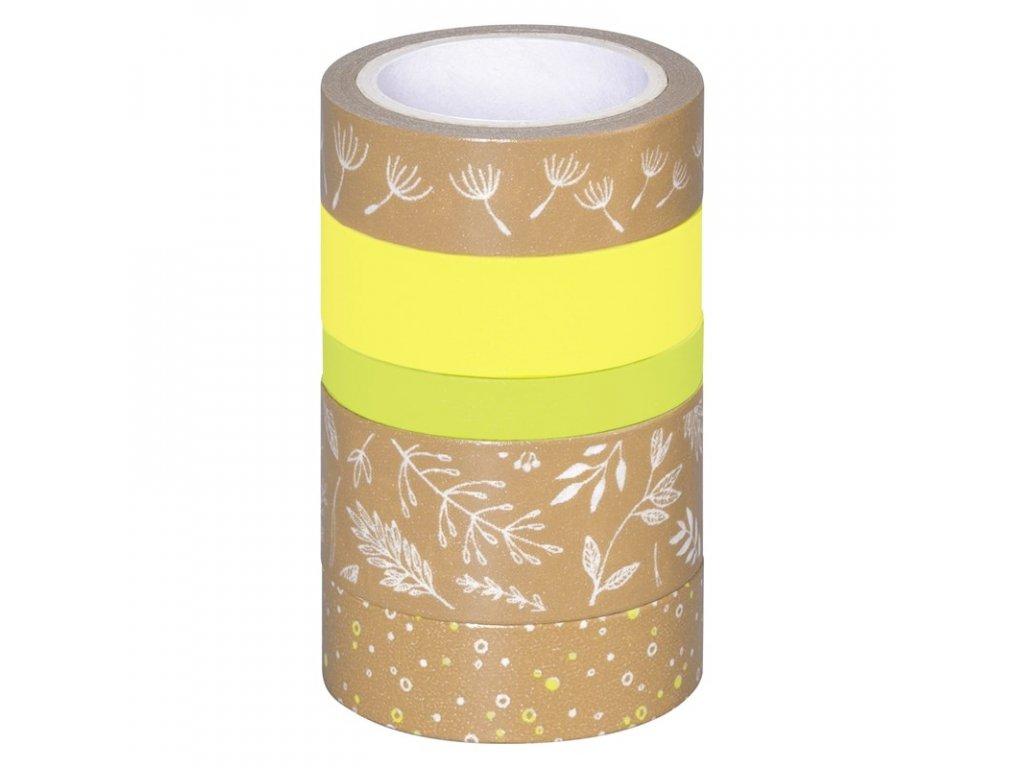 Washi páska - lístečky, kraft & zelený odstín (5ks)