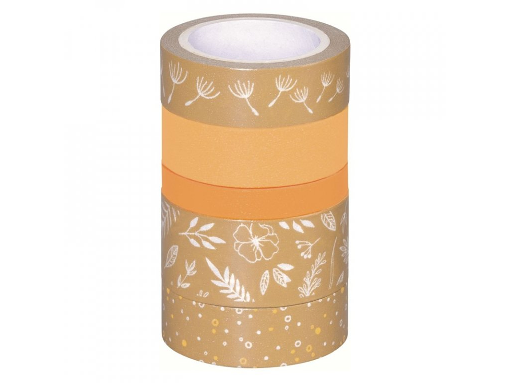 Washi páska - lístečky, kraft & oranžový odstín (5ks)