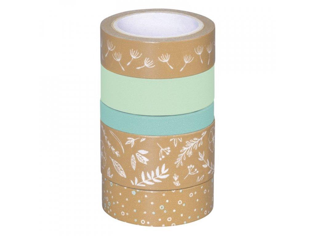 Washi páska - lístečky, kraft & modrý odstín (5ks)