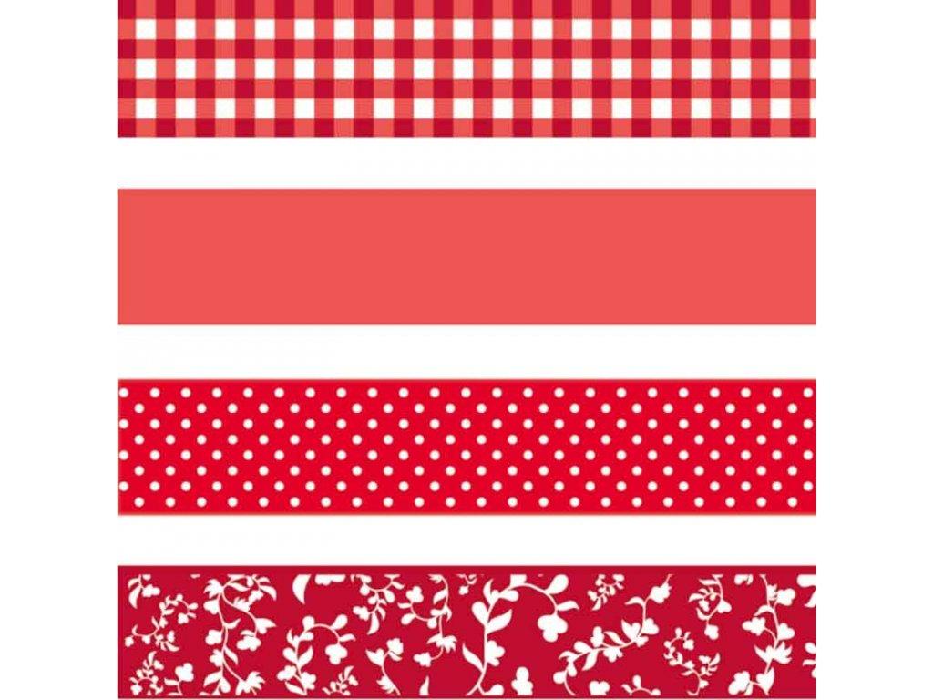 Washi páska - červené puntíky, čtverečky a květiny (4ks)