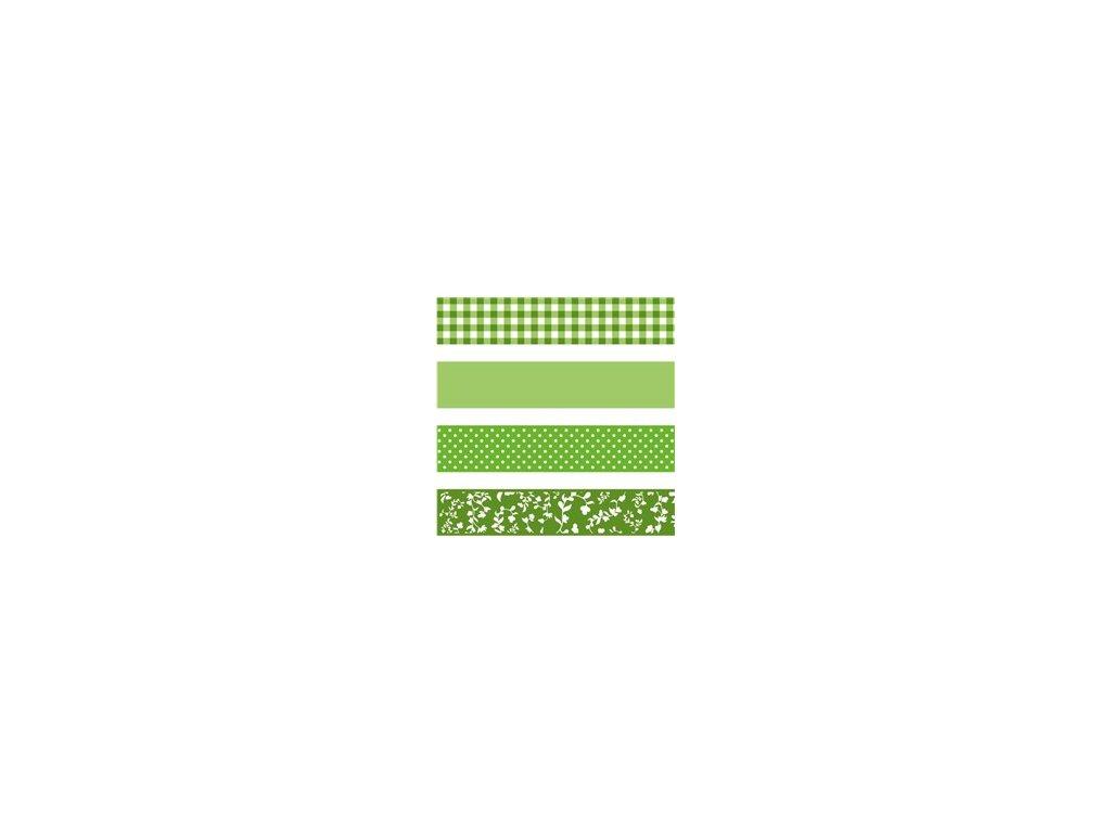 Washi páska - green & white (4ks)