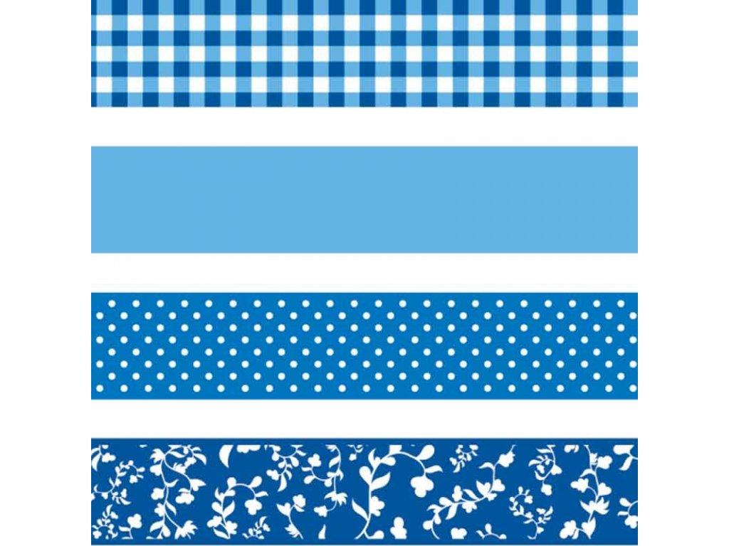 Washi páska - blue & white (4ks)