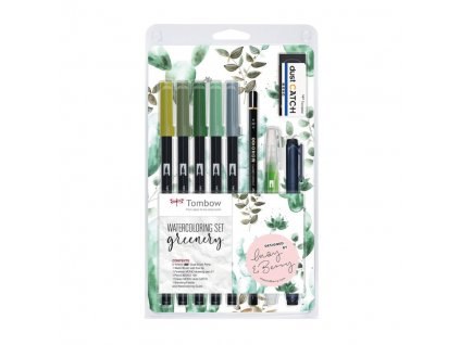 Tombow ABT Dual brush pen akvarelová sada Greenery