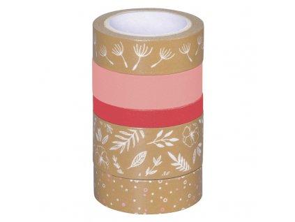 Washi páska - lístečky, kraft & růžový odstín (5ks)