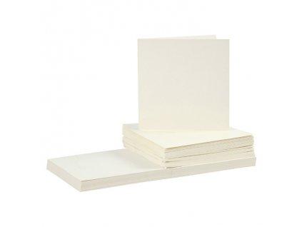 Krémová přání a obálky – 15x15 cm 5ks