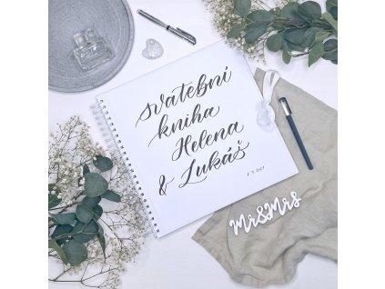 Svatební kniha bílá – ručně nadepsaná