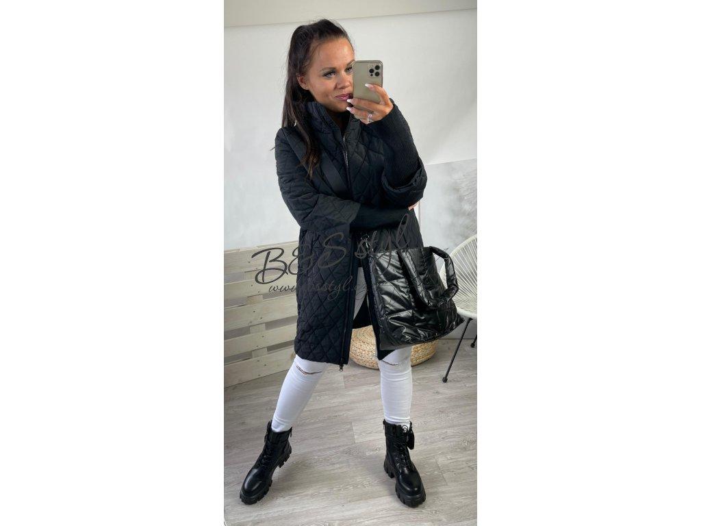 prošívaný kabát černý