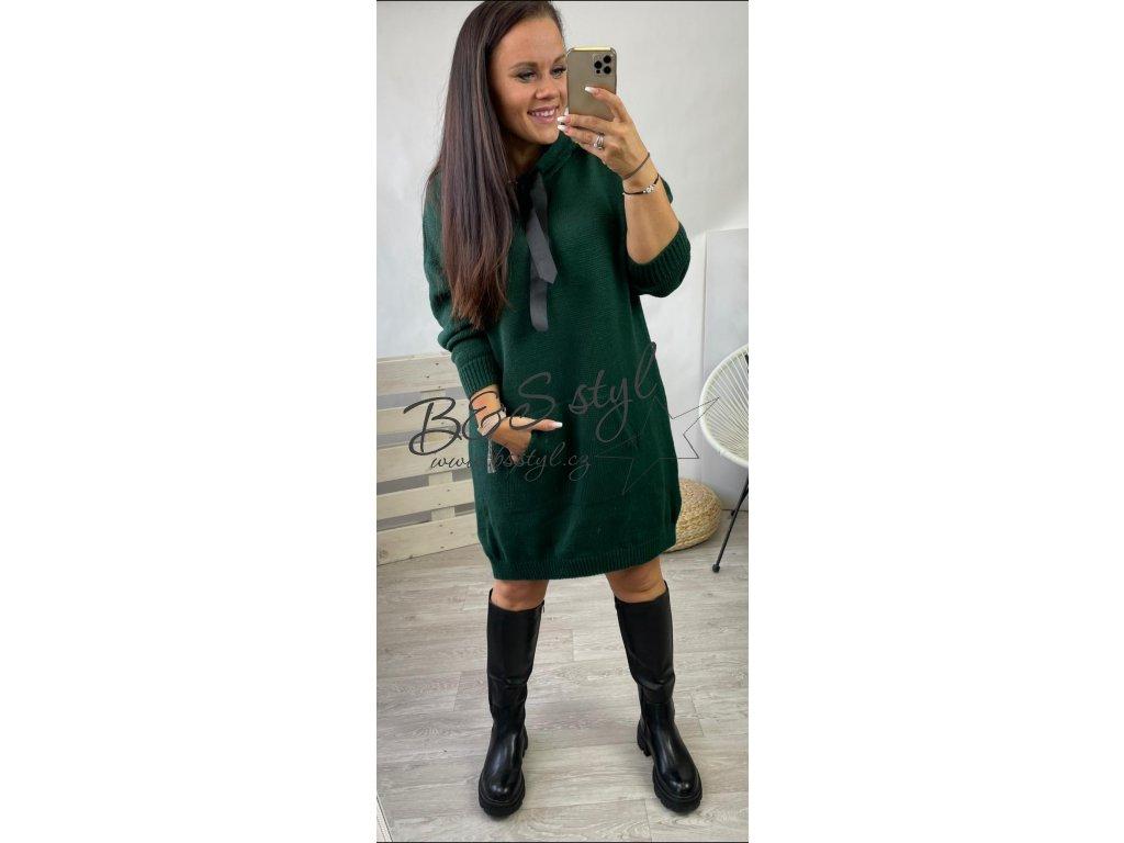 svetrové šaty life zelene