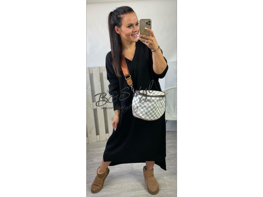 svetrové šaty long cerne