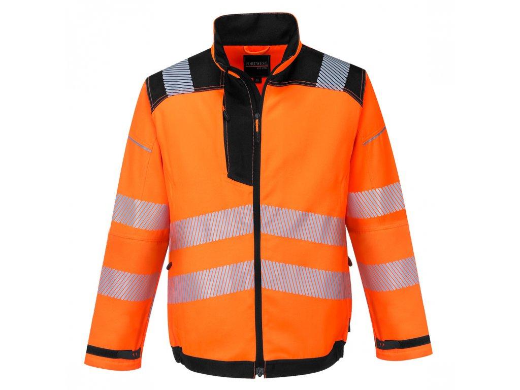 T500 Bunda HiVis PW3 - oranžová/černá