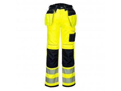T501 HiVis Kalhoty PW3 Hoslter - žlutá