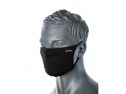 Portwest CV33 3-vrstvá antimikrobiální rouška na obličej - černá