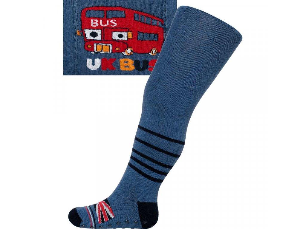 Bavlnené pančucháčky New Baby s ABS tmavo modré UK bus