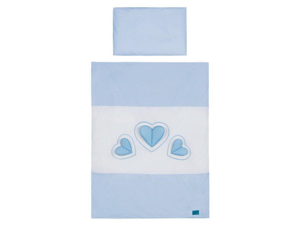 5-dielne posteľné obliečky Belisima Tri srdcia 90/120 bielo-modré