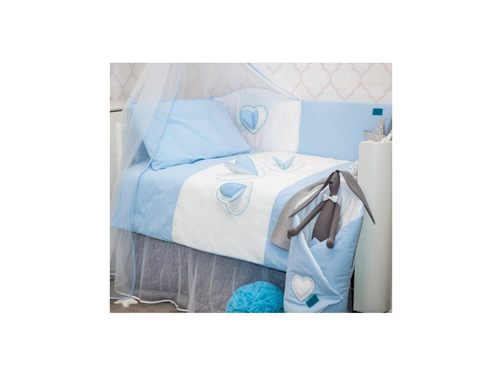 6-dielne posteľné obliečky Belisima Tri srdcia 100/135 bielo-modré