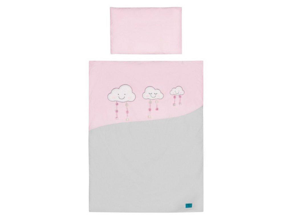 3-dielne posteľné obliečky Belisima Obláčiky 100/135 ružové