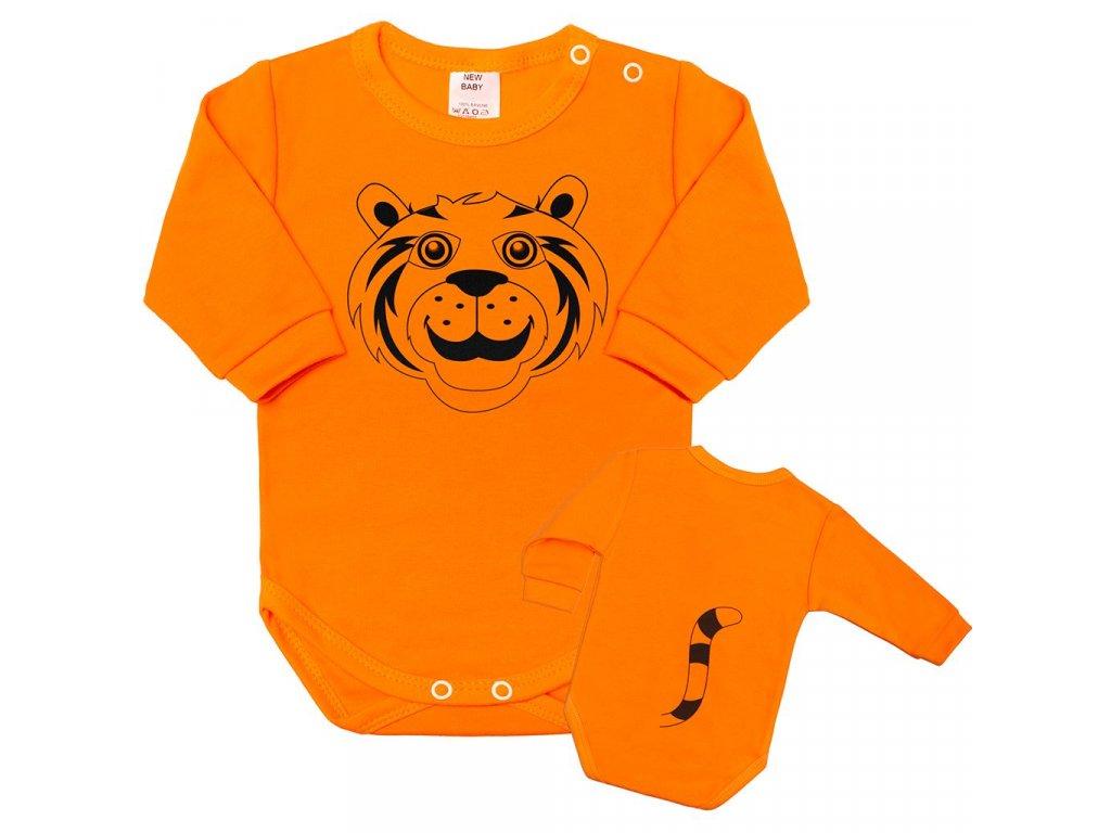 Dojčenské body s dlhým rukávom New Baby Zvieratko Tygrík oranžové