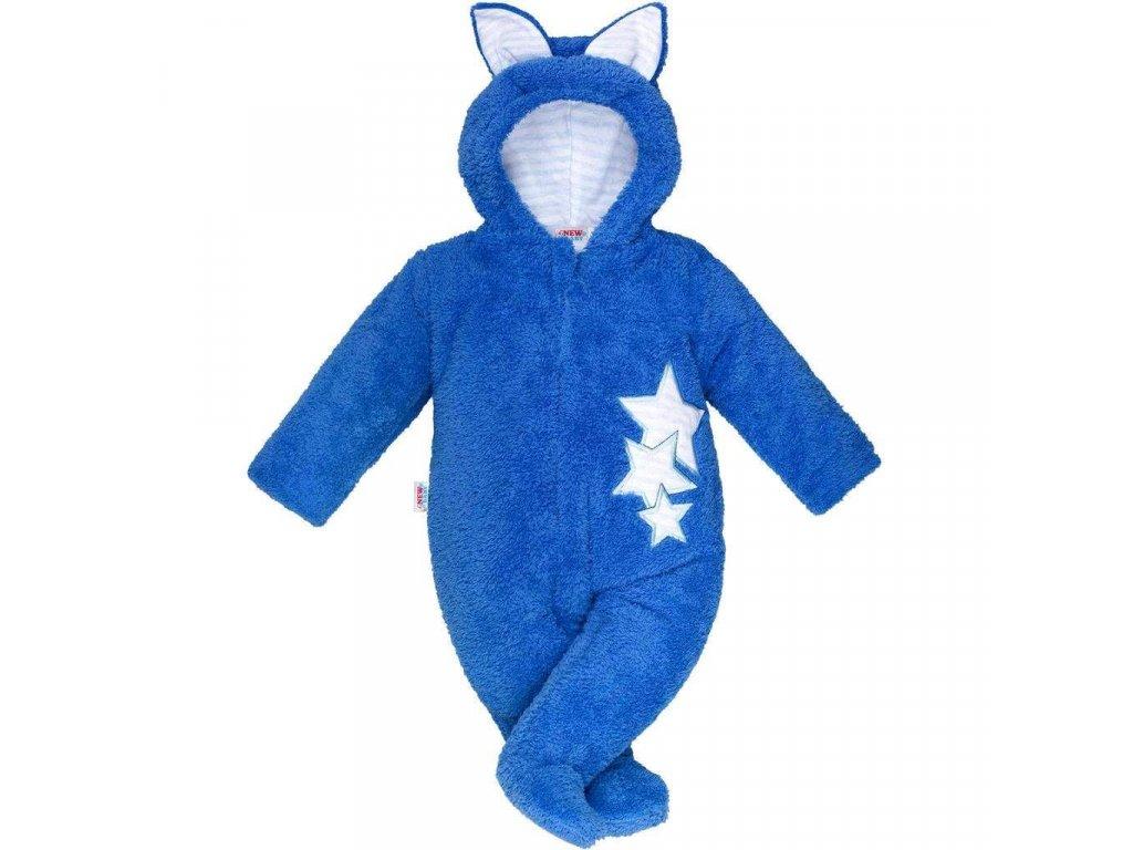 Zimná detská kombinéza New Baby Ušiačik modrá