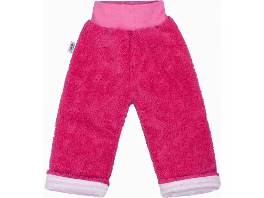 Zimné detské tepláčky New Baby Ušiačik tmavo ružové