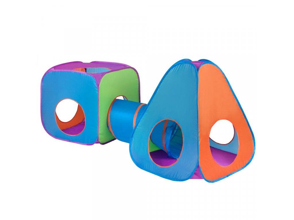 Detský stan PlayTo 3v1 oranžovo-modrý