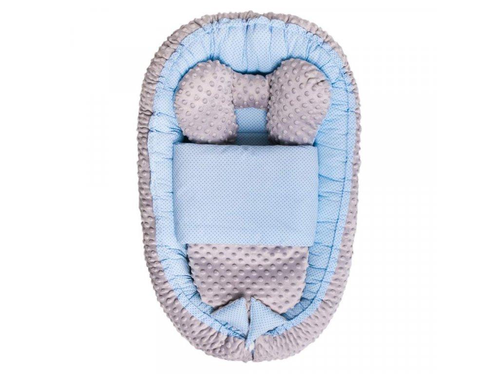 Hniezdočko s perinkou pre bábätko Minky Sweet Baby Belisima modré