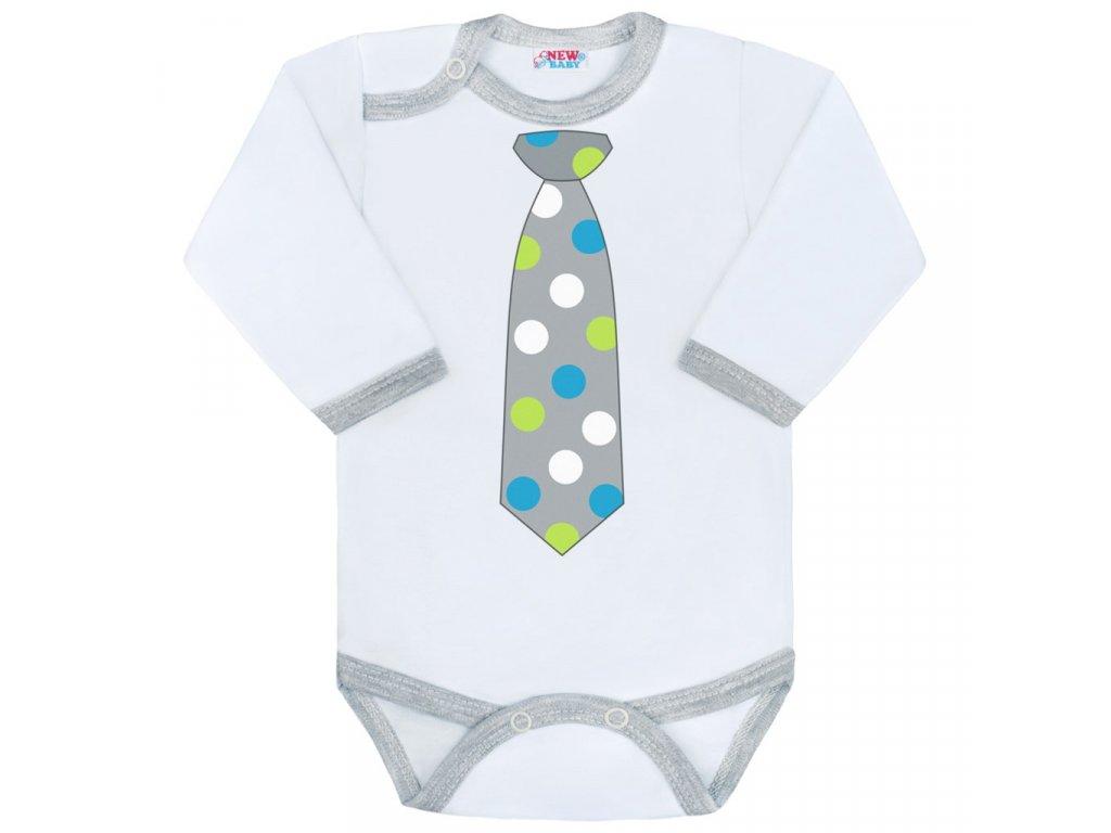 Body s potlačou New Baby s kravatou s bodkami