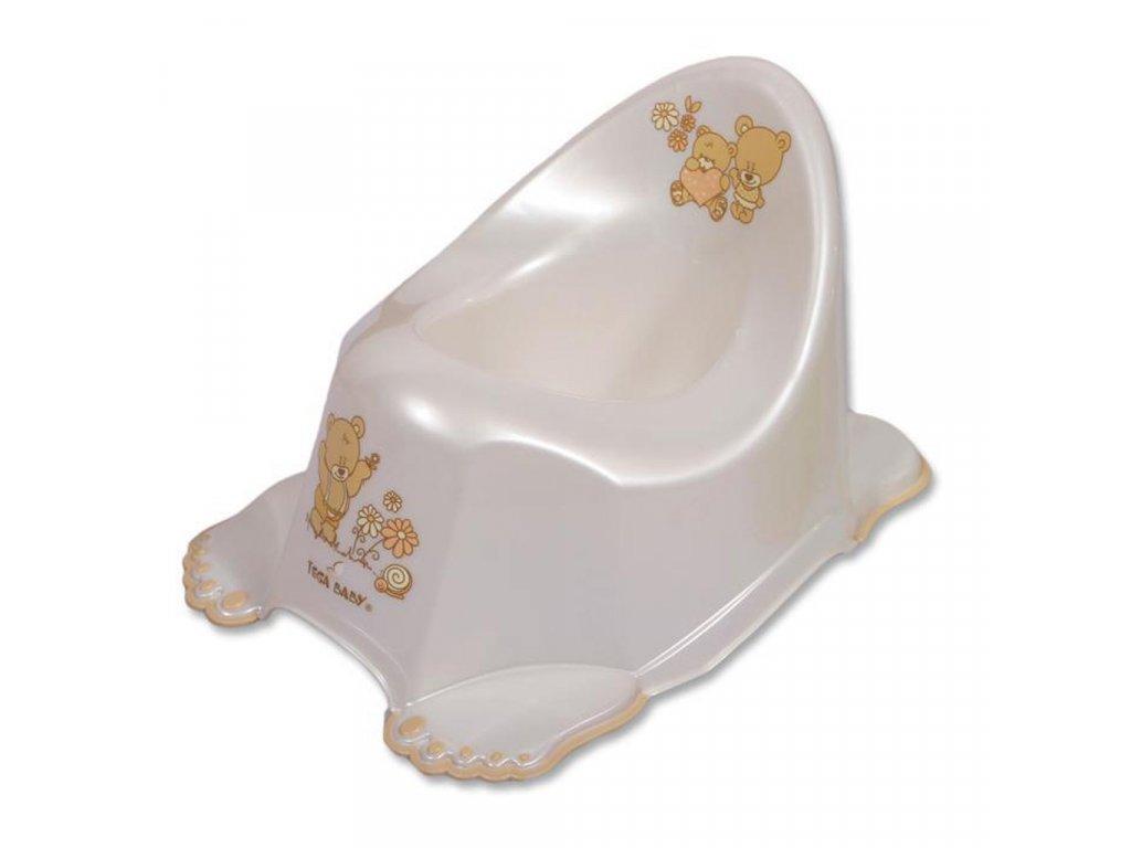 Detský nočník Medvedík protišmykový bielý