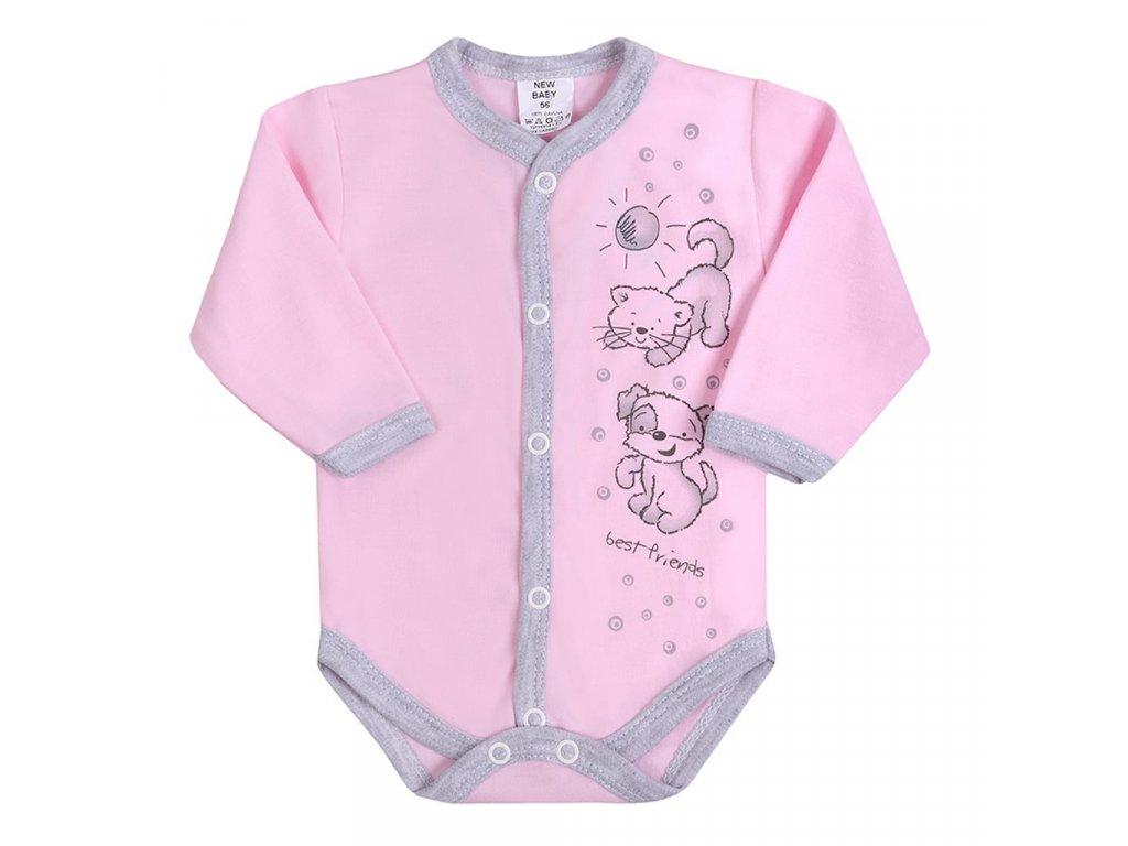 Dojčenské body celorozopínacie New Baby Kamaráti ružové