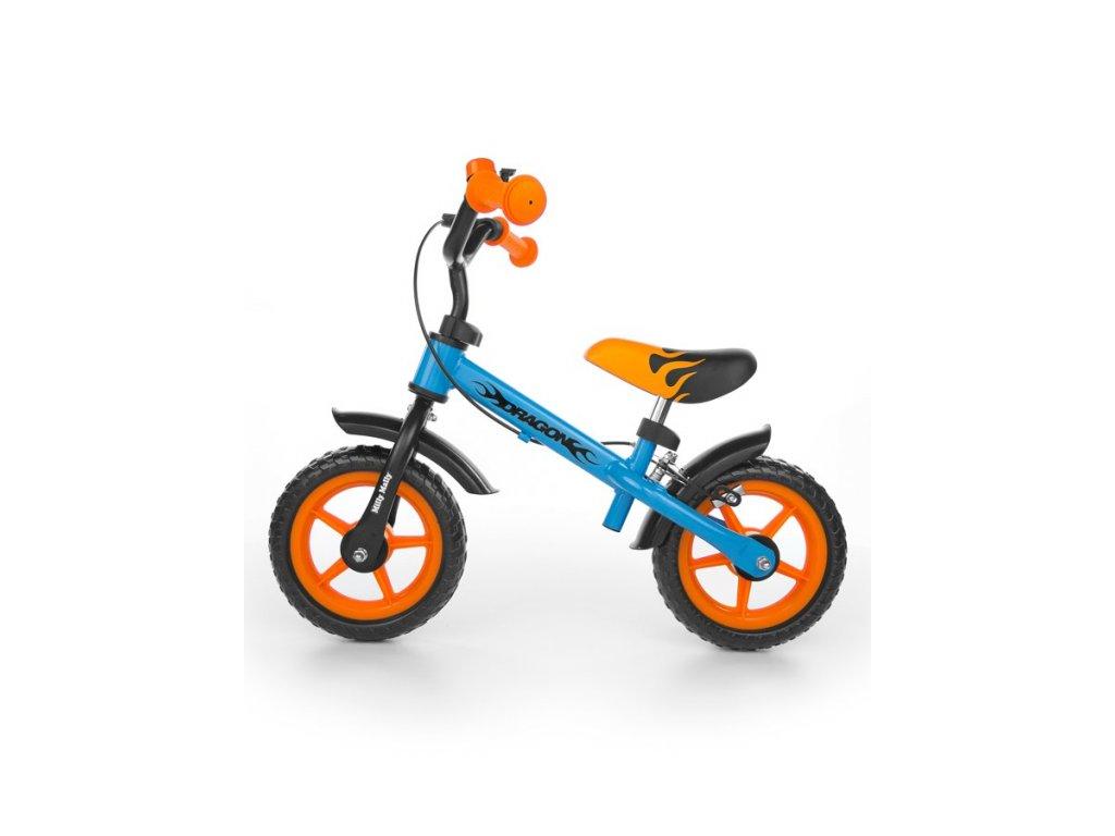 Detské odrážadlo kolo Milly Mally Dragon s brzdou orange-blue