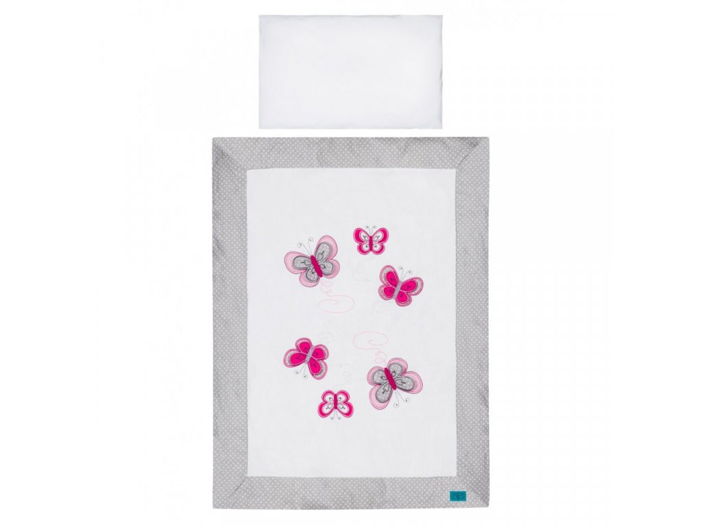 5-dielne posteľné obliečky Belisima Motýlik 90/120 šedé