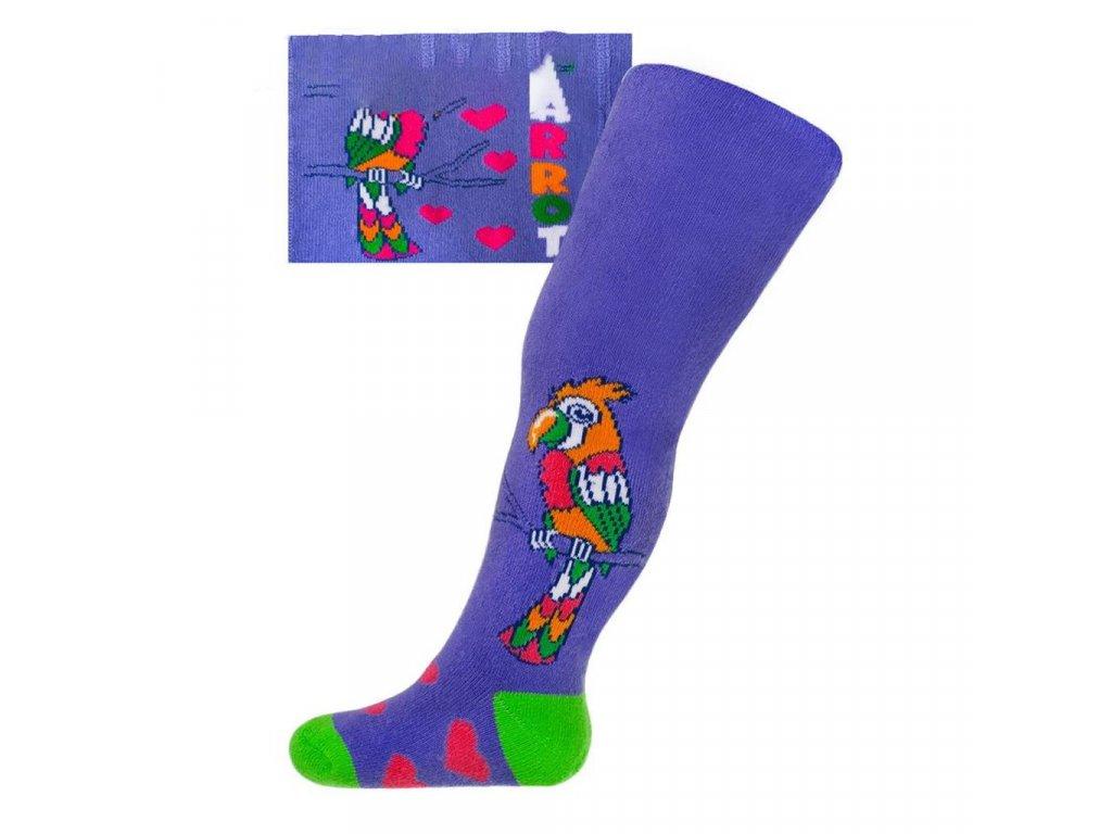Froté pančucháčky New Baby s ABS fialové s papagájom