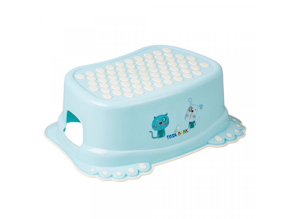 Detské protišmykové stúpadlo do kúpeľne Psíček a Mačička modré