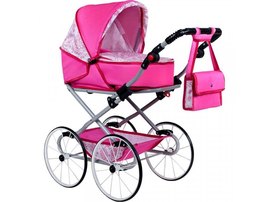Detský Retro kočík pre bábiky 2v1 New Baby Natálka ružový