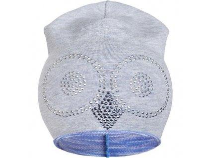 Jarná čiapočka New Baby sova sivo-fialová