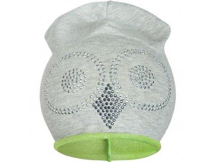 Jarná čiapočka New Baby sova sivo-zelená