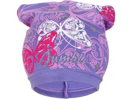 Jarná detská čiapočka New Baby motýlikovia fialová