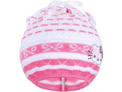 Pletená čiapočka-šatka New Baby mačička ružová