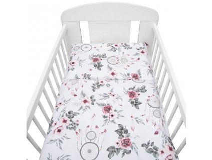 2-dielne posteľné obliečky New Baby 90/120 cm biele kvety a pierka