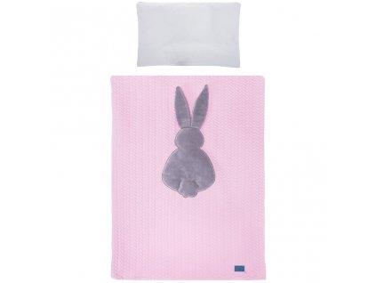 6-dielne posteľné obliečky Belisima Králiček 90/120 ružovo-sivé