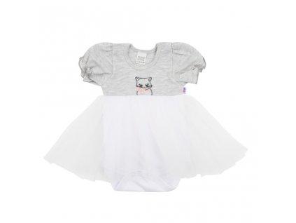 Dojčenské body s tylovou sukienkou New Baby Wonderful sivé
