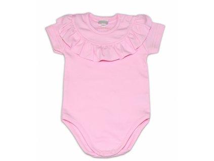 112147 191390 g baby bavlnene body s volanikom kratky rukav sv ruzove vel 68
