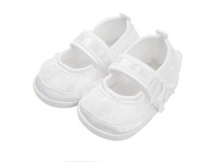 Dojčenské capačky New Baby saténové biele 0-3 m