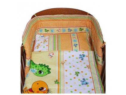3-dielne posteľné obliečky New Baby 100/135 cm oranžové s dinom