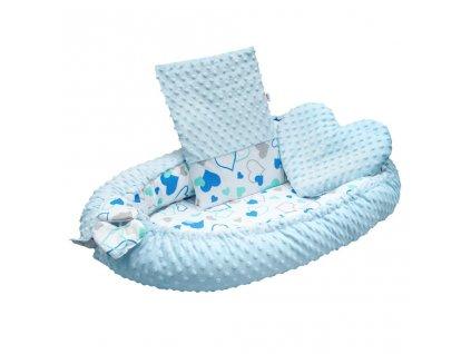 Luxusné hniezdočko s vankúšikom a perinkou New Baby z Minky modré srdiečka