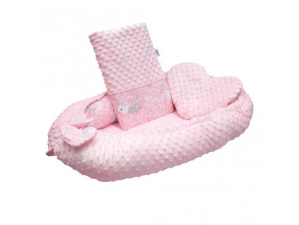 Luxusné hniezdočko s vankúšikom a perinkou New Baby z Minky Králičky ružové