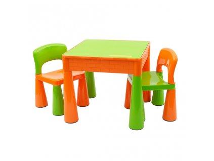 Detská sada stolček a dve stoličky NEW BABY oranžová