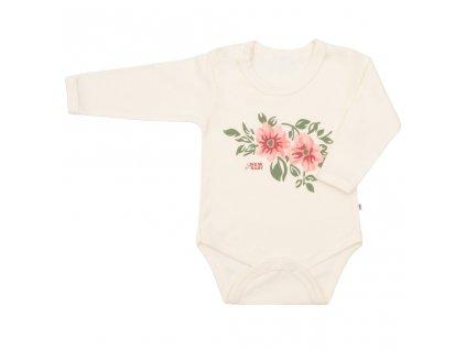 Dojčenské body s dlhým rukávom New Baby Flowers béžové