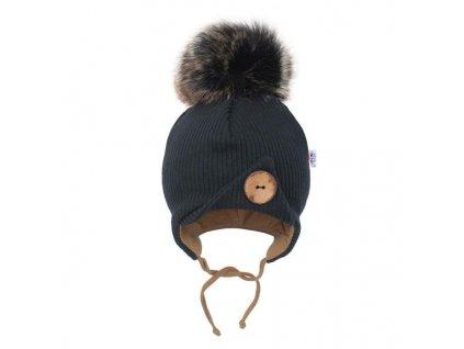 Dojčenská zimná čiapočka New Baby Great černá